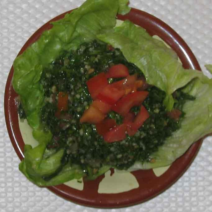 Taboulé (blé concassé, tomates, persil, oignon, citron, menthe)